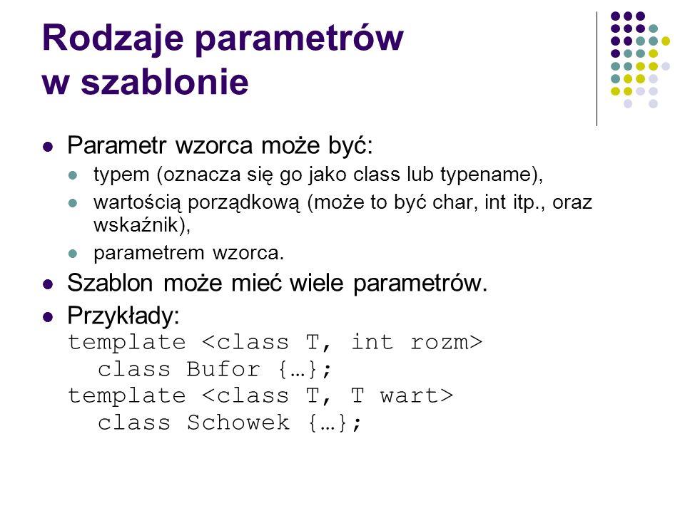 Rodzaje parametrów w szablonie