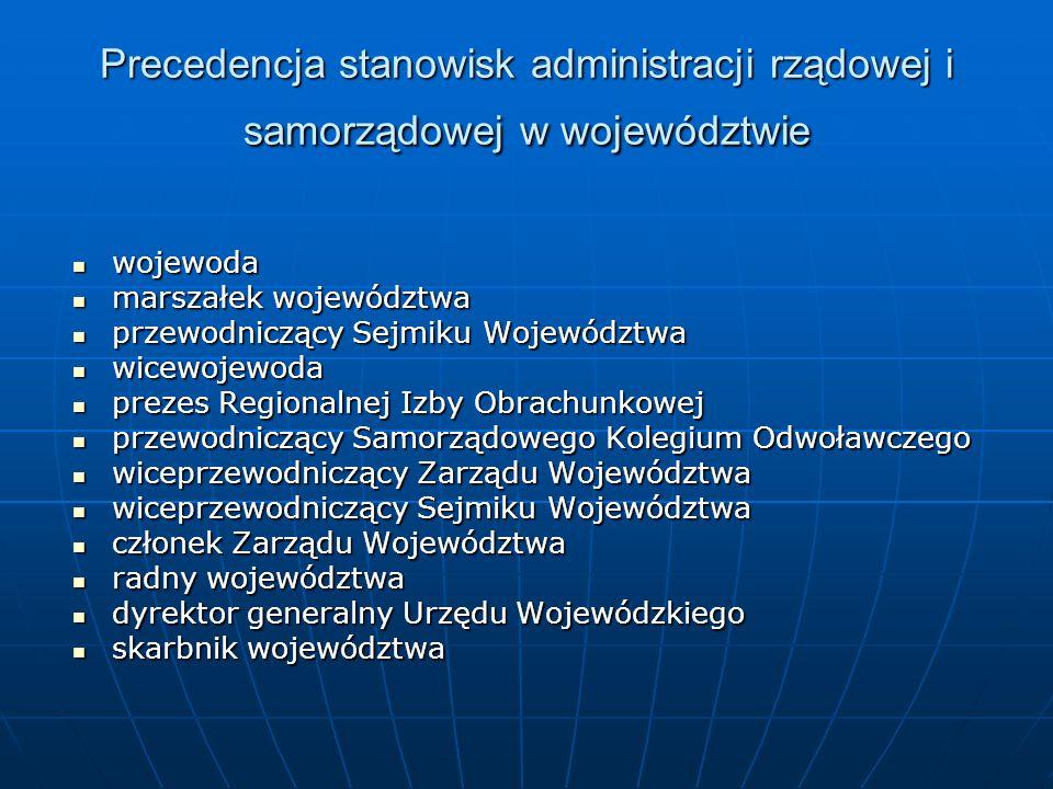 Precedencja stanowisk administracji rządowej i samorządowej w województwie