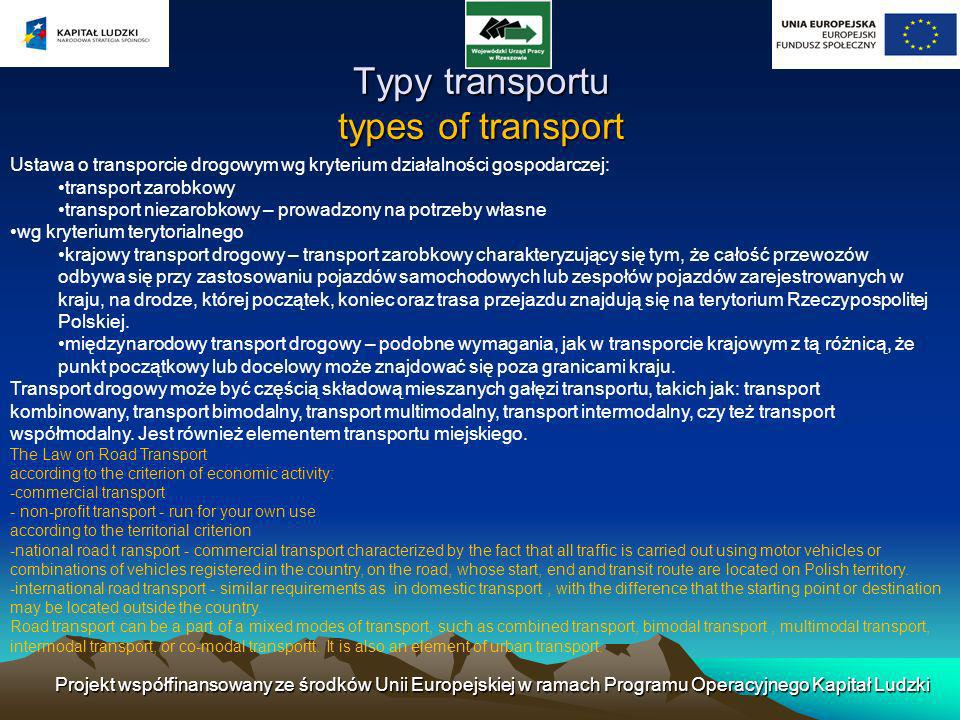 Typy transportu types of transport