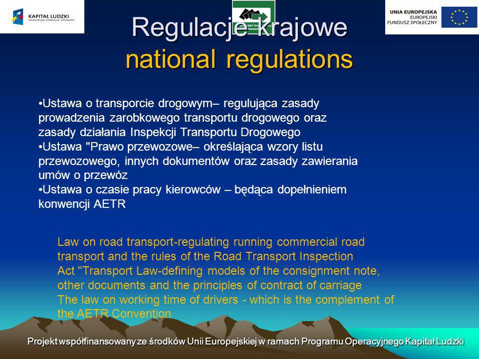 Regulacje krajowe national regulations