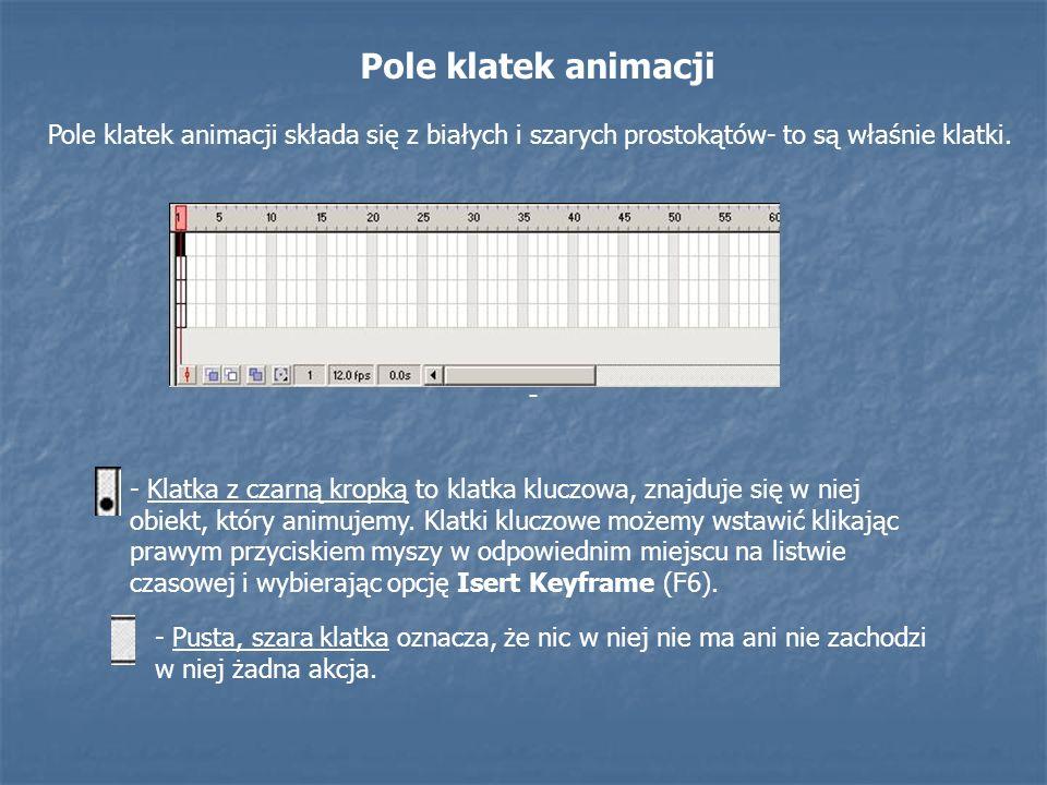 Pole klatek animacji Pole klatek animacji składa się z białych i szarych prostokątów- to są właśnie klatki.