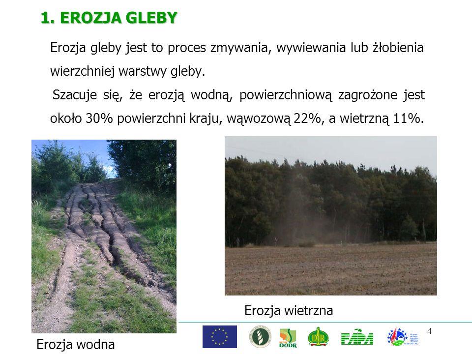 1. EROZJA GLEBY Erozja gleby jest to proces zmywania, wywiewania lub żłobienia wierzchniej warstwy gleby.