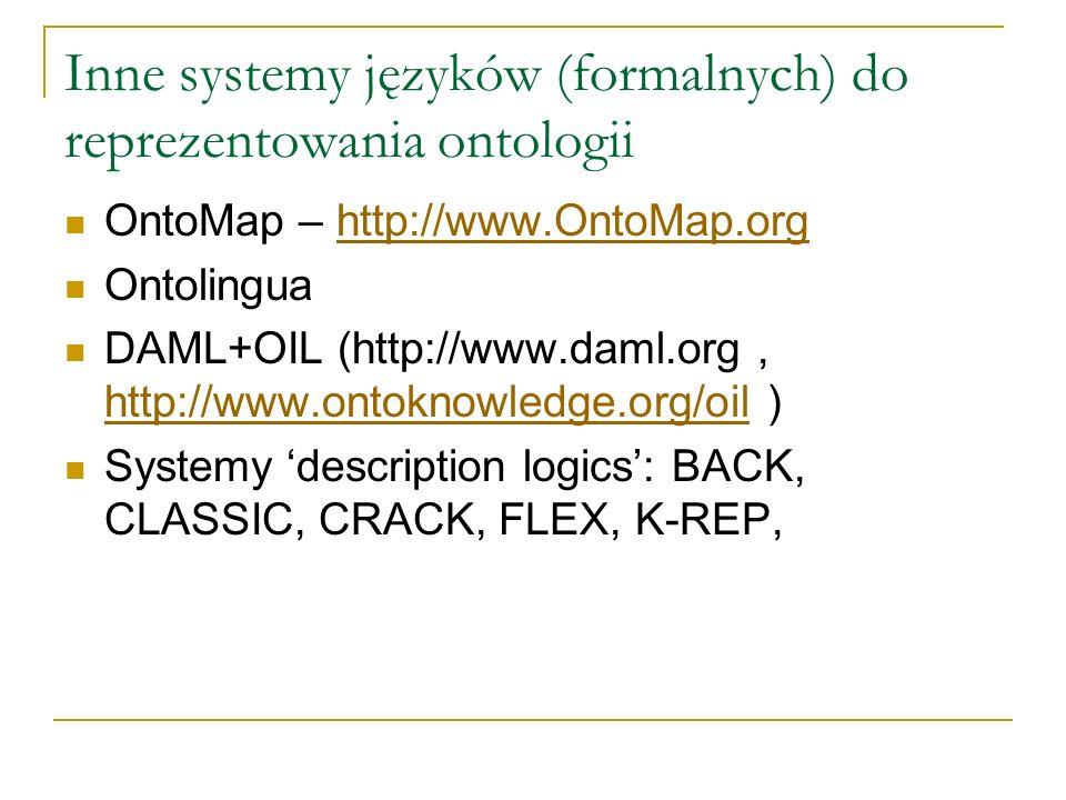 Inne systemy języków (formalnych) do reprezentowania ontologii