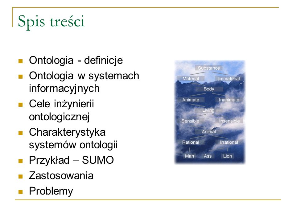 Spis treści Ontologia - definicje Ontologia w systemach informacyjnych