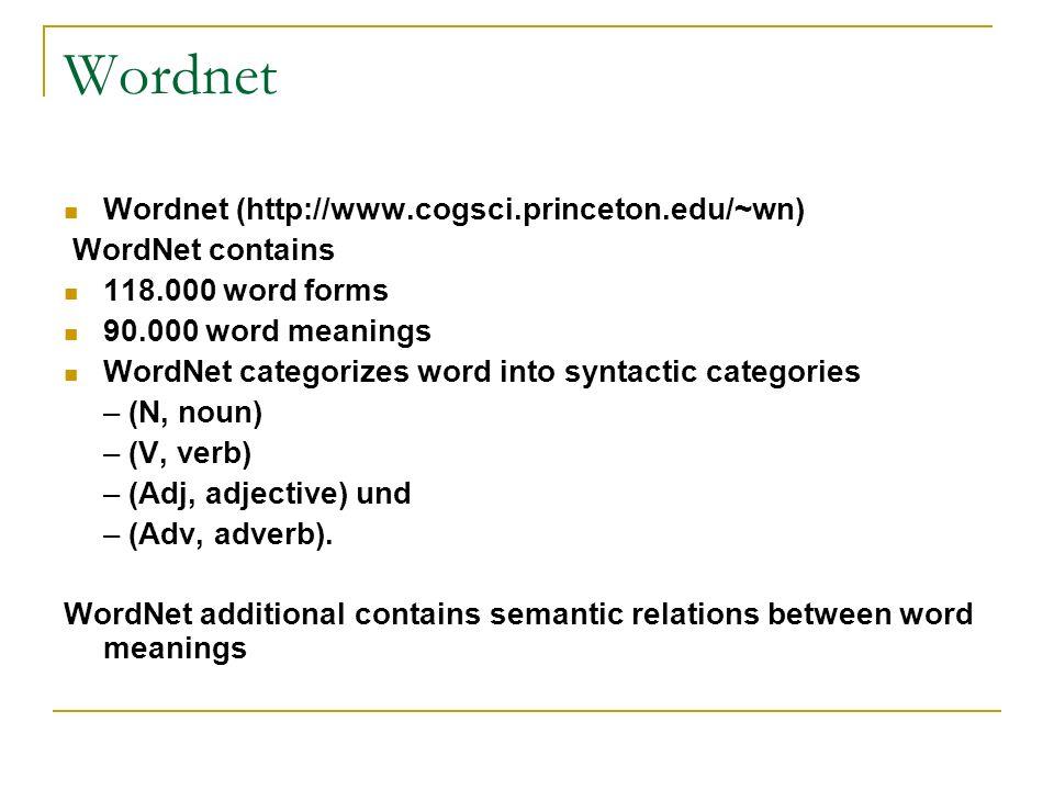Wordnet Wordnet (http://www.cogsci.princeton.edu/~wn) WordNet contains
