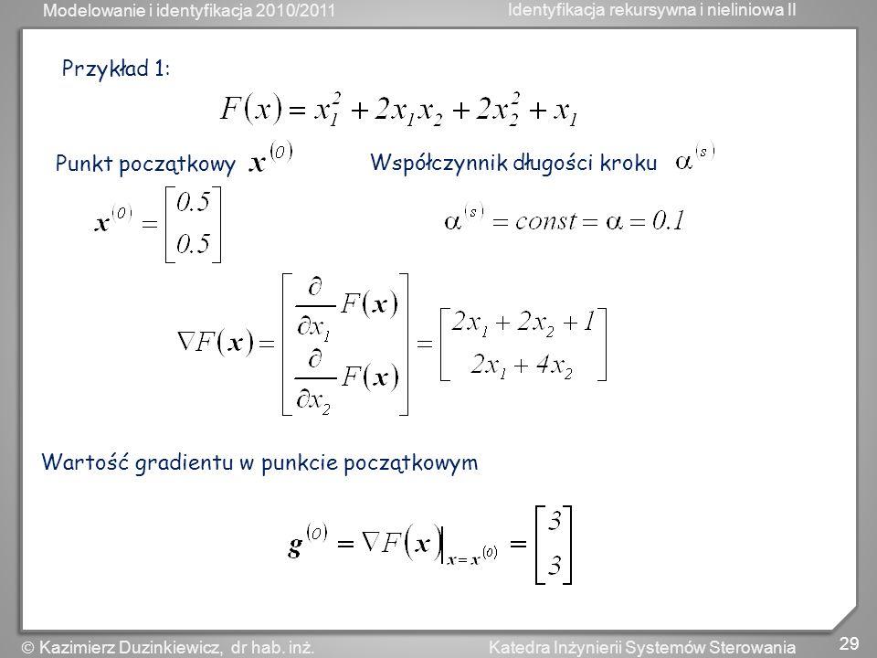 Przykład 1: Punkt początkowy Współczynnik długości kroku Wartość gradientu w punkcie początkowym
