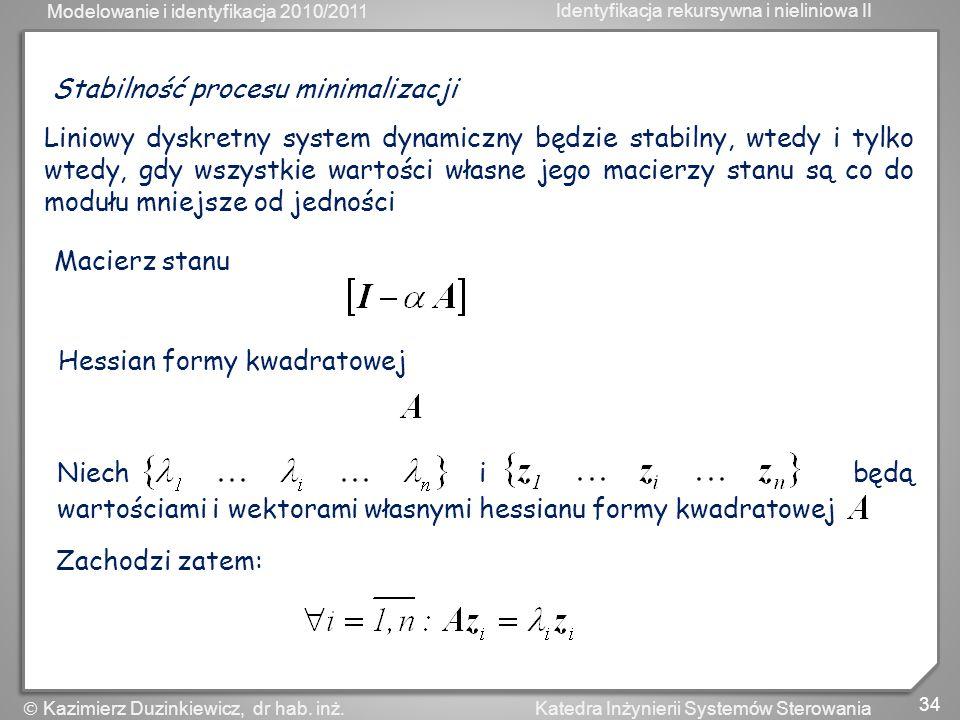 Stabilność procesu minimalizacji
