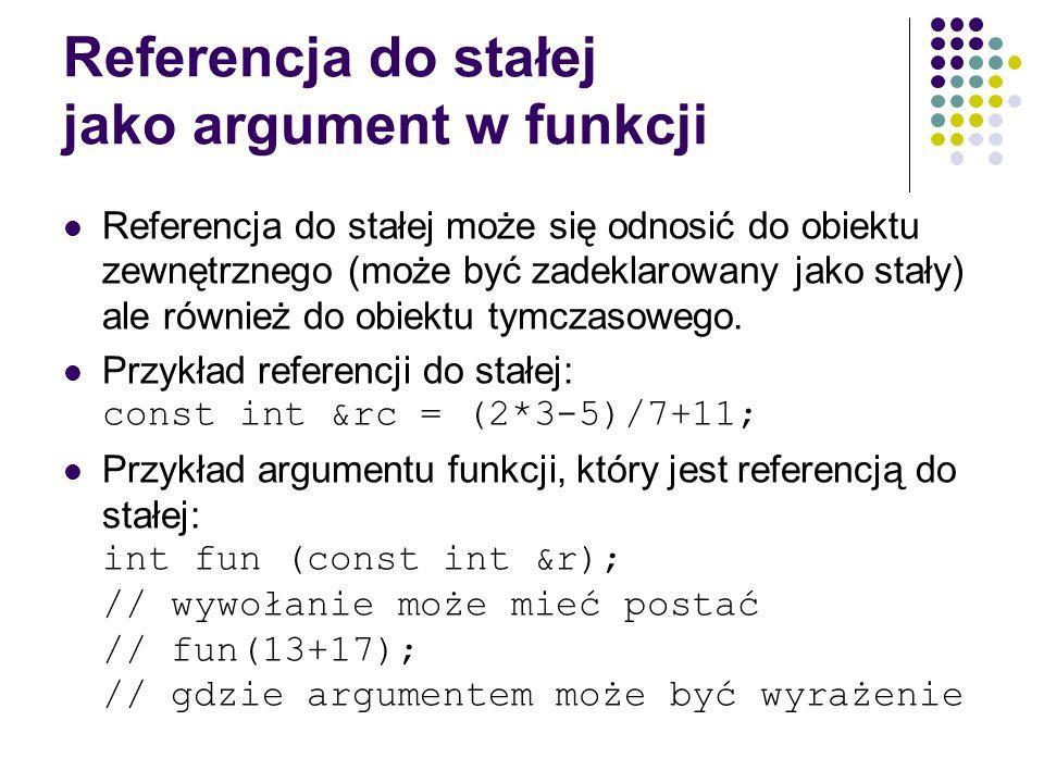 Referencja do stałej jako argument w funkcji