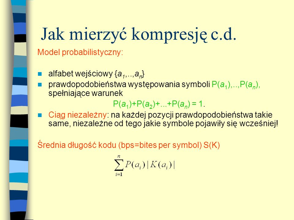 Jak mierzyć kompresję c.d.