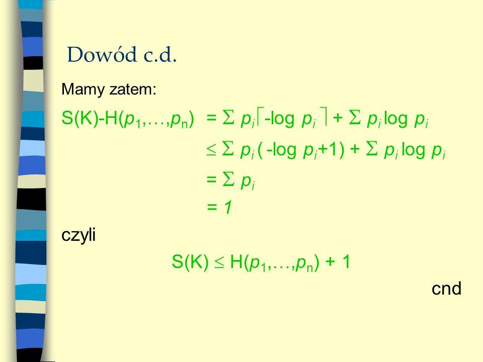 Dowód c.d. S(K)-H(p1,,pn) =  pi -log pi  +  pi log pi