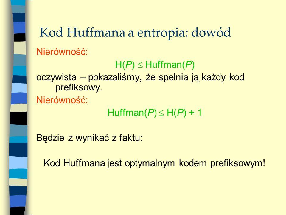 Kod Huffmana a entropia: dowód