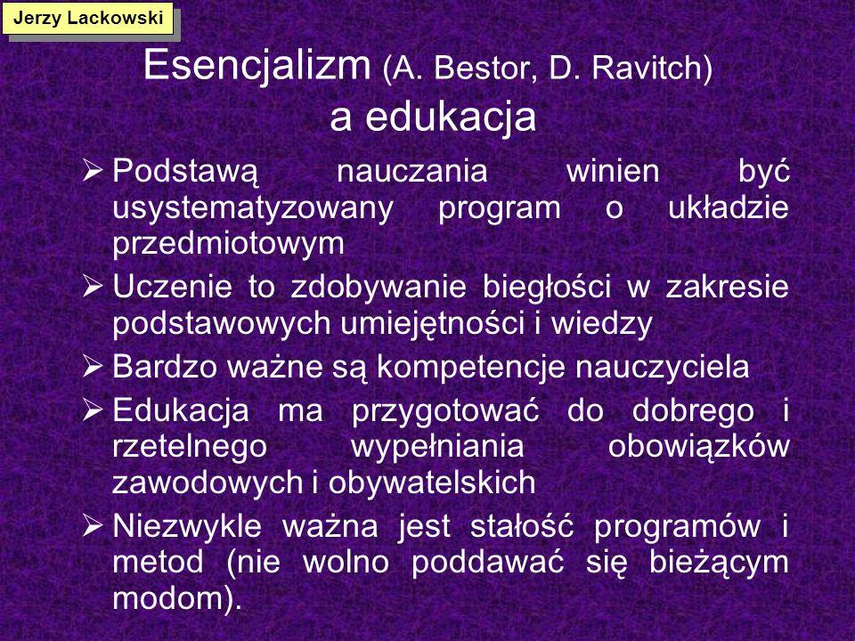 Esencjalizm (A. Bestor, D. Ravitch) a edukacja