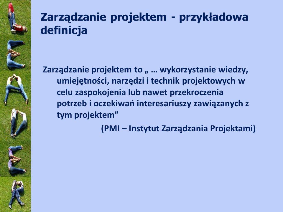 Zarządzanie projektem - przykładowa definicja