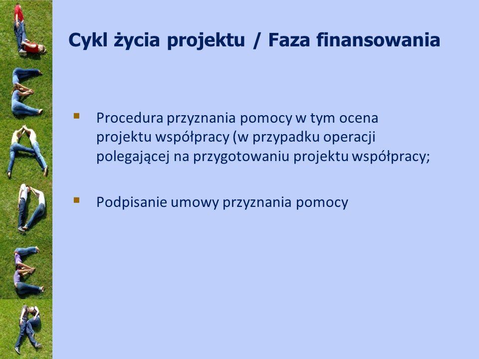 Cykl życia projektu / Faza finansowania