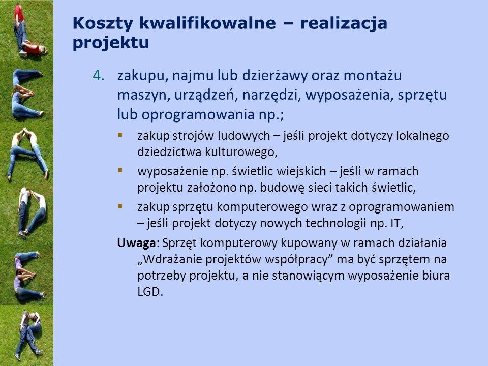 Koszty kwalifikowalne – realizacja projektu