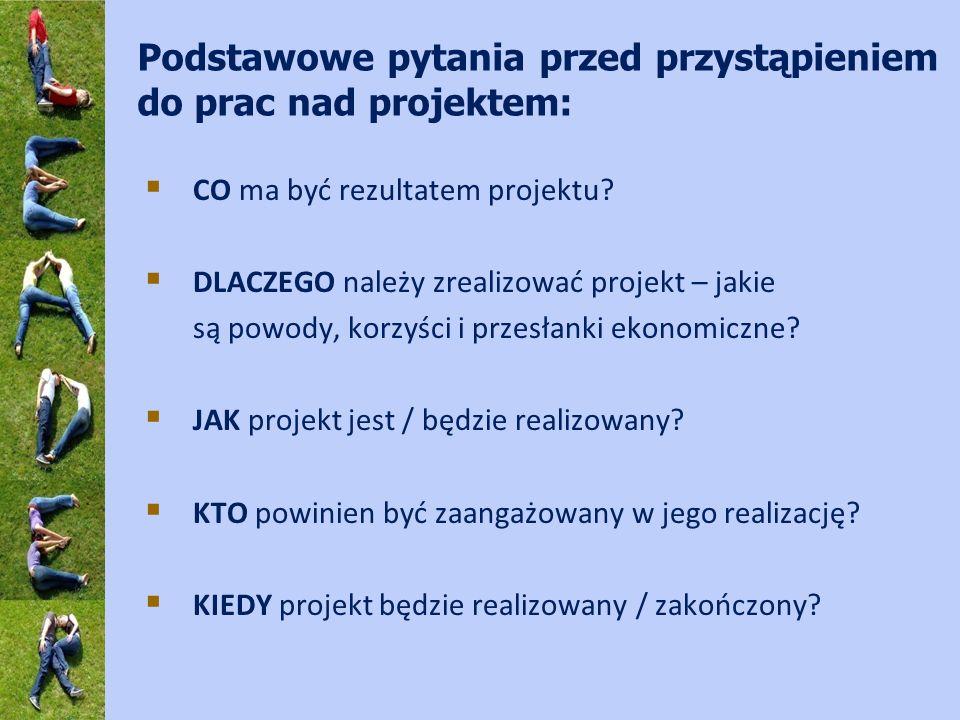 Podstawowe pytania przed przystąpieniem do prac nad projektem: