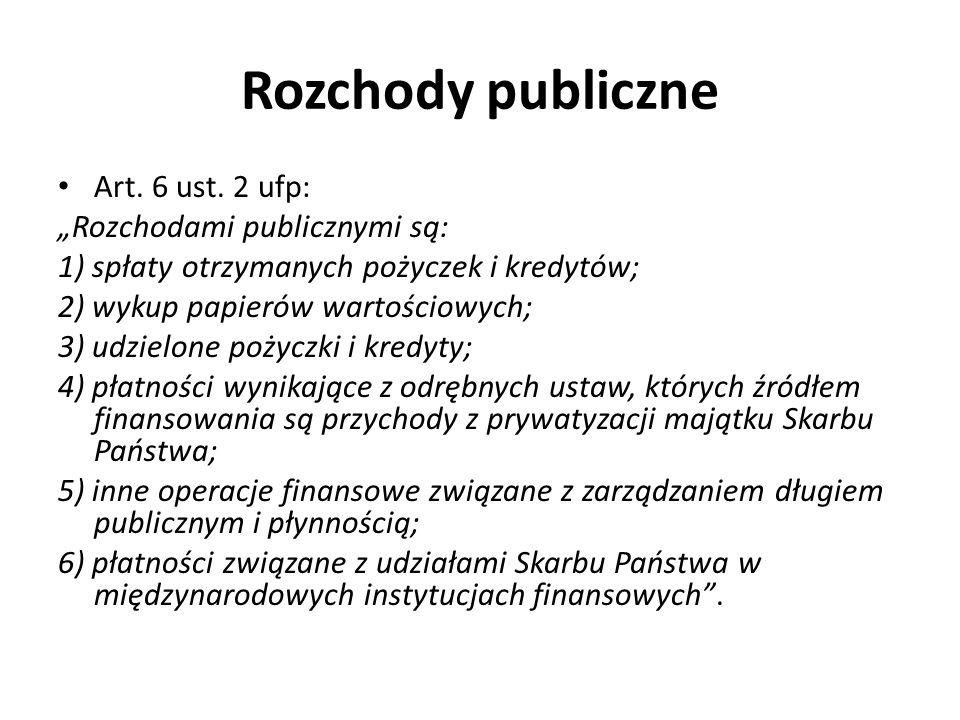 """Rozchody publiczne Art. 6 ust. 2 ufp: """"Rozchodami publicznymi są:"""