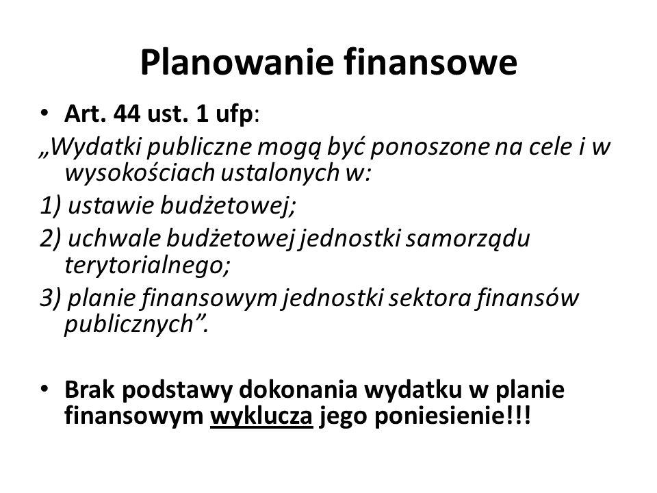 Planowanie finansowe Art. 44 ust. 1 ufp: