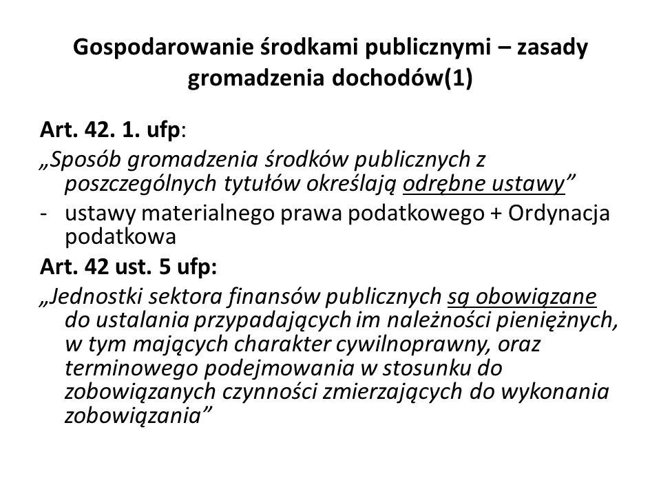 Gospodarowanie środkami publicznymi – zasady gromadzenia dochodów(1)