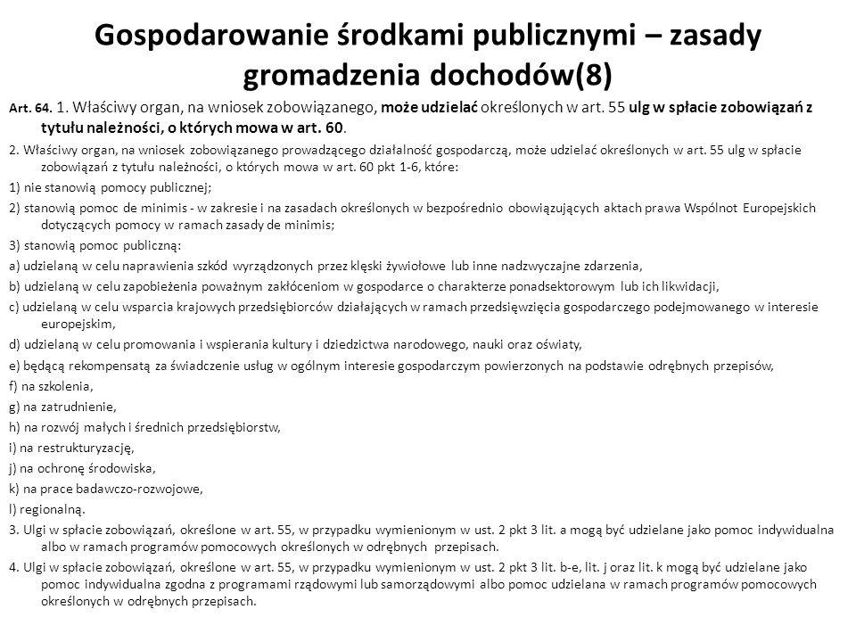 Gospodarowanie środkami publicznymi – zasady gromadzenia dochodów(8)