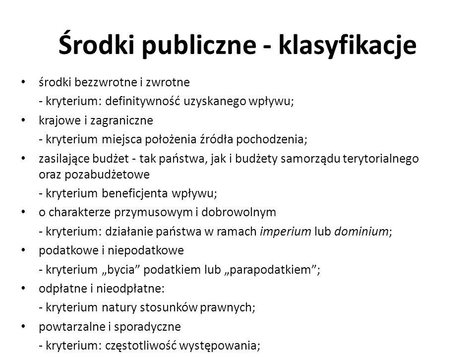 Środki publiczne - klasyfikacje