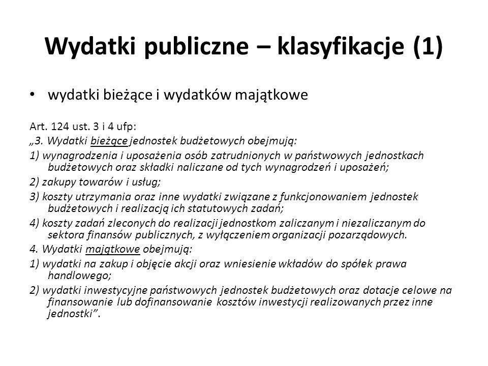 Wydatki publiczne – klasyfikacje (1)
