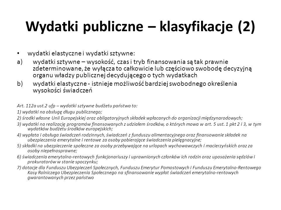 Wydatki publiczne – klasyfikacje (2)