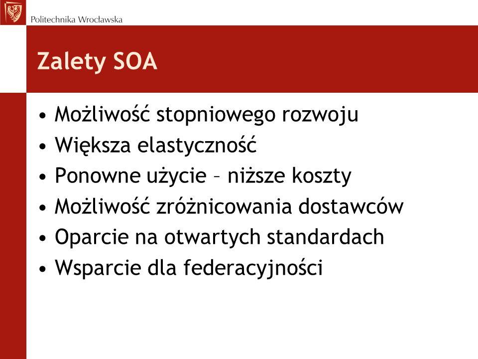 Zalety SOA Możliwość stopniowego rozwoju Większa elastyczność