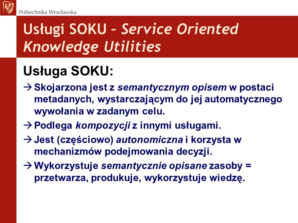 Usługi SOKU – Service Oriented Knowledge Utilities