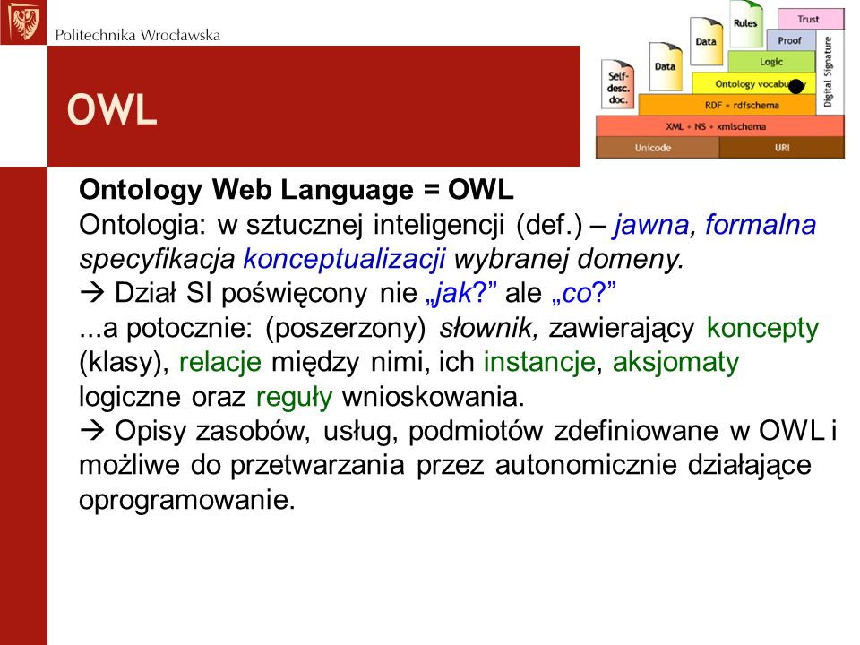 OWL Ontology Web Language = OWL