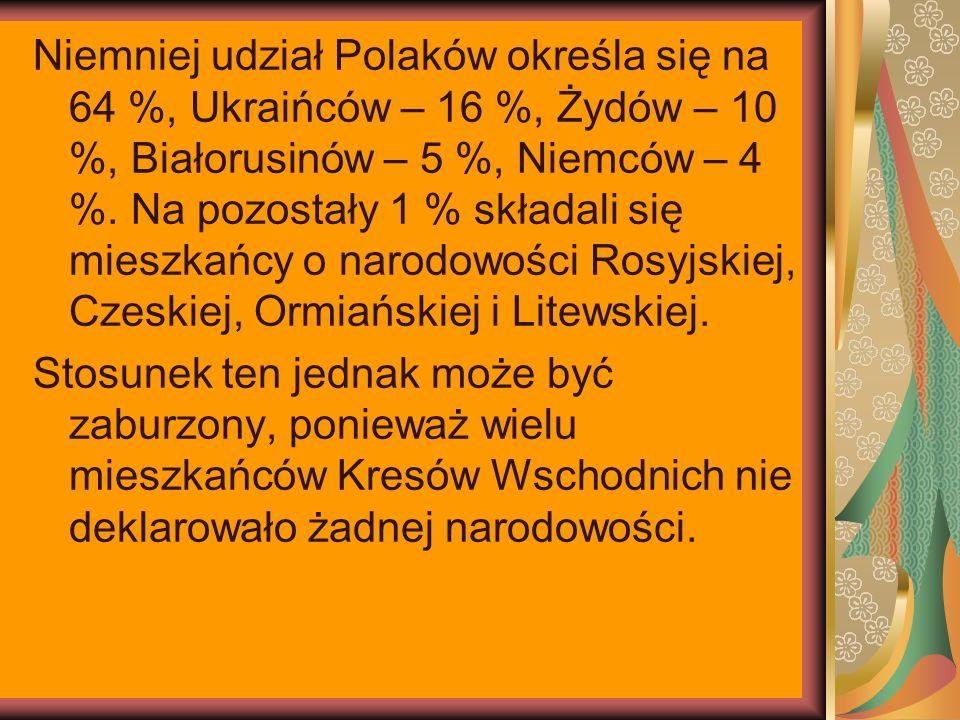 Niemniej udział Polaków określa się na 64 %, Ukraińców – 16 %, Żydów – 10 %, Białorusinów – 5 %, Niemców – 4 %.