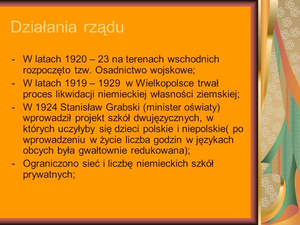 Działania rządu W latach 1920 – 23 na terenach wschodnich rozpoczęto tzw. Osadnictwo wojskowe;