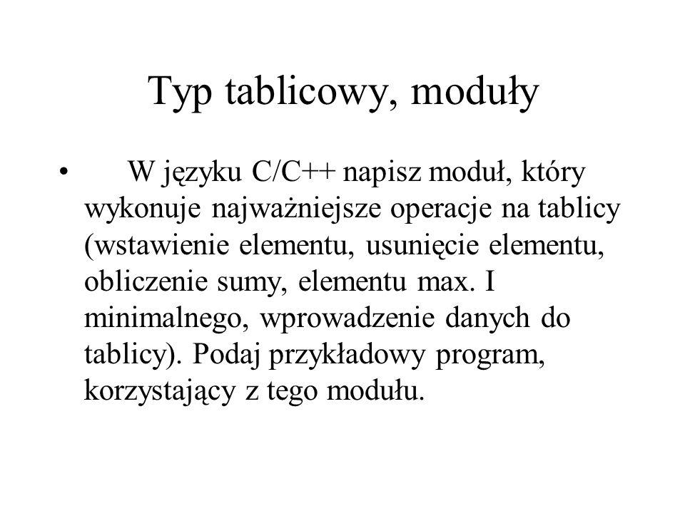 Typ tablicowy, moduły