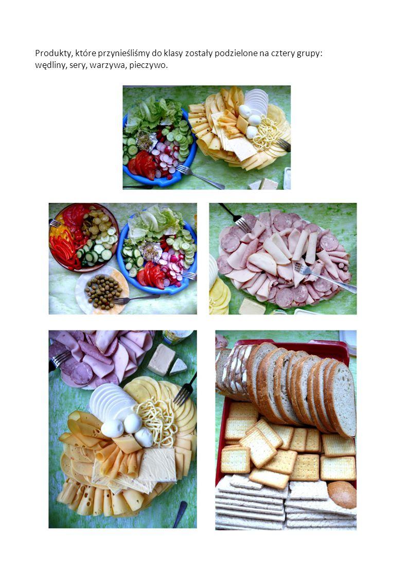 Produkty, które przynieśliśmy do klasy zostały podzielone na cztery grupy: wędliny, sery, warzywa, pieczywo.