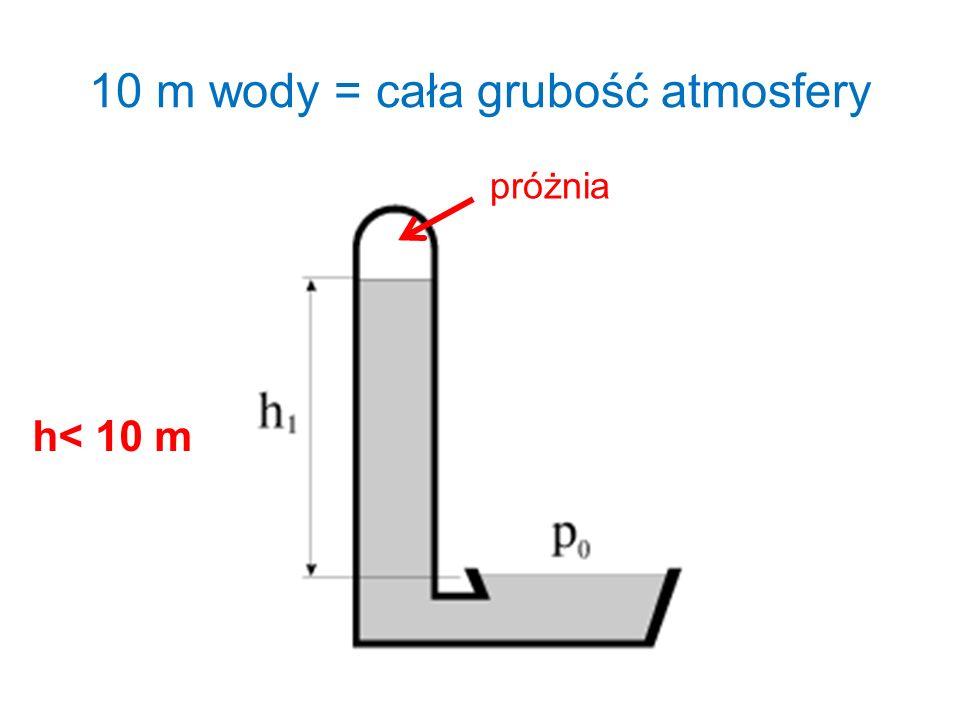 10 m wody = cała grubość atmosfery