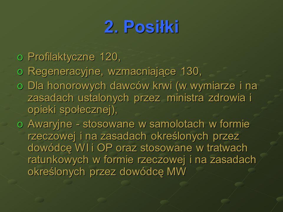 2. Posiłki Profilaktyczne 120, Regeneracyjne, wzmacniające 130,