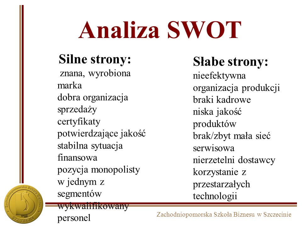 Analiza SWOT Silne strony: Słabe strony: znana, wyrobiona marka