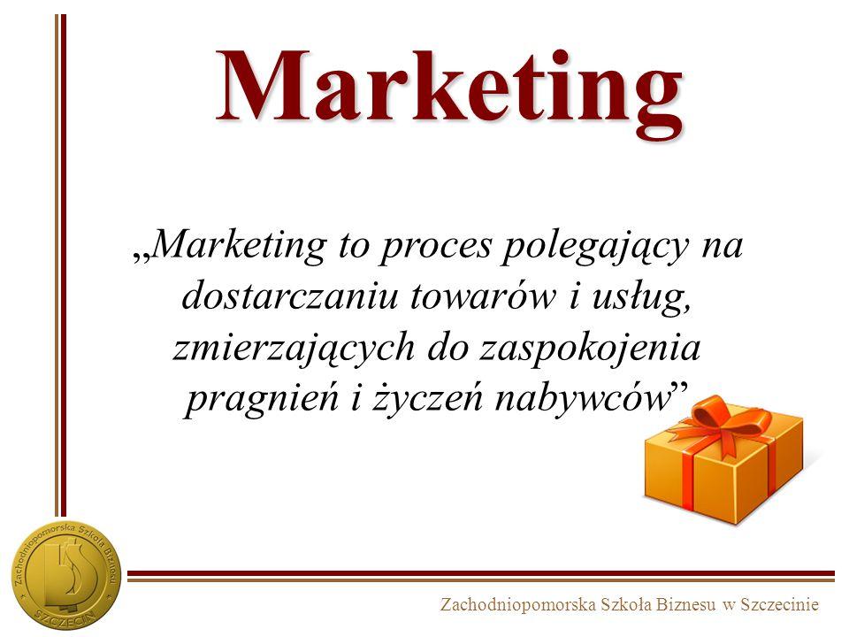 """Marketing """"Marketing to proces polegający na dostarczaniu towarów i usług, zmierzających do zaspokojenia pragnień i życzeń nabywców"""