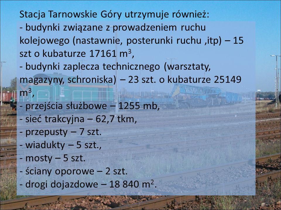 Stacja Tarnowskie Góry utrzymuje również: - budynki związane z prowadzeniem ruchu kolejowego (nastawnie, posterunki ruchu ,itp) – 15 szt o kubaturze 17161 m3, - budynki zaplecza technicznego (warsztaty, magazyny, schroniska) – 23 szt.