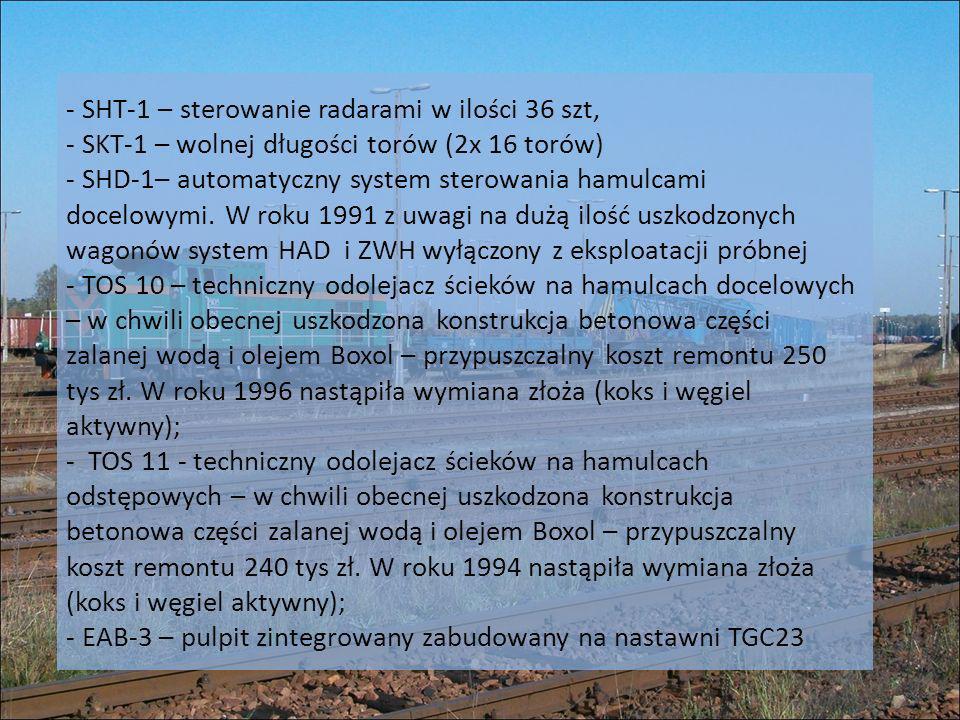 - SHT-1 – sterowanie radarami w ilości 36 szt, - SKT-1 – wolnej długości torów (2x 16 torów) - SHD-1– automatyczny system sterowania hamulcami docelowymi.