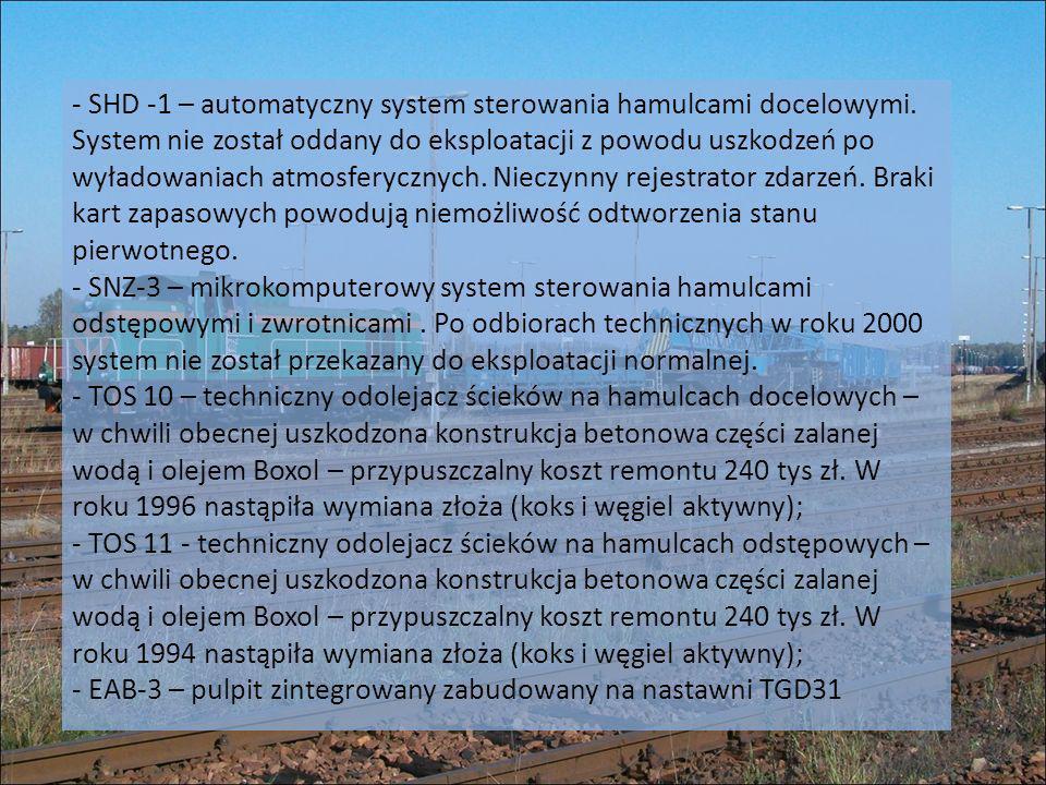 - SHD -1 – automatyczny system sterowania hamulcami docelowymi