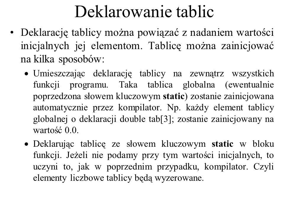 Deklarowanie tablic Deklarację tablicy można powiązać z nadaniem wartości inicjalnych jej elementom. Tablicę można zainicjować na kilka sposobów: