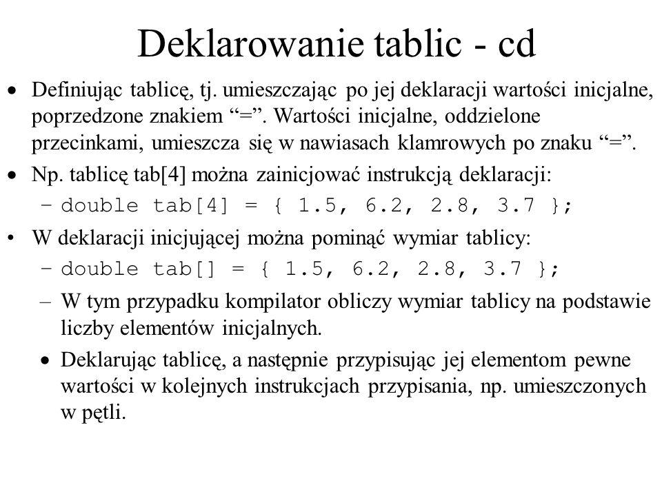 Deklarowanie tablic - cd