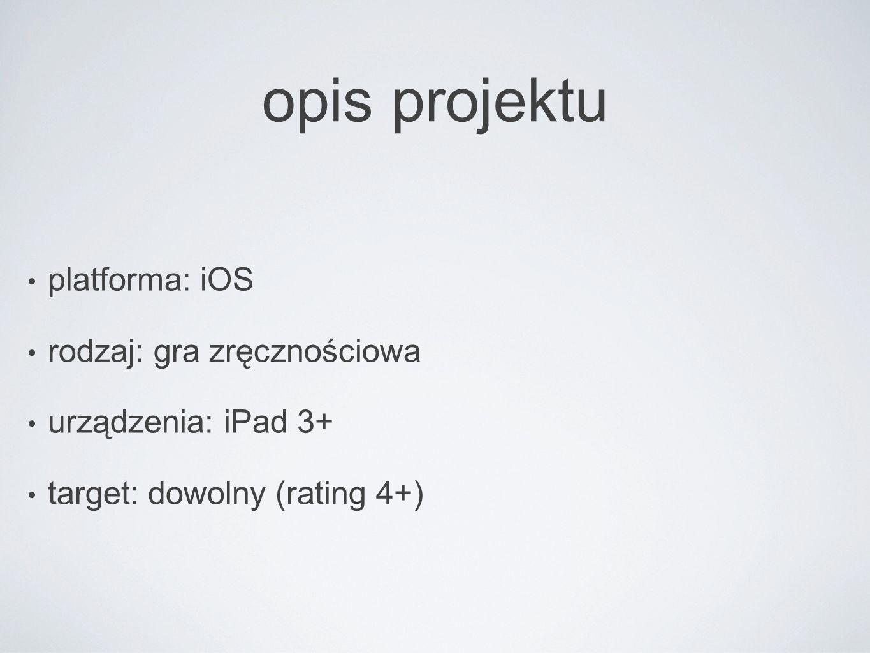 opis projektu platforma: iOS rodzaj: gra zręcznościowa