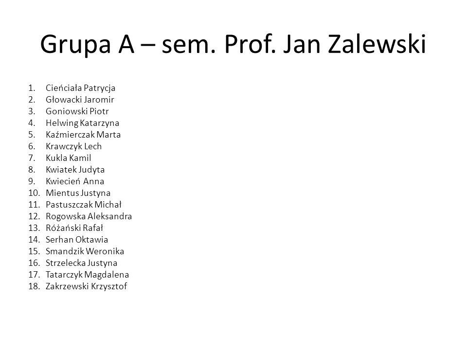 Grupa A – sem. Prof. Jan Zalewski