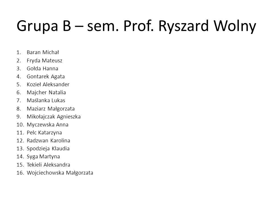 Grupa B – sem. Prof. Ryszard Wolny