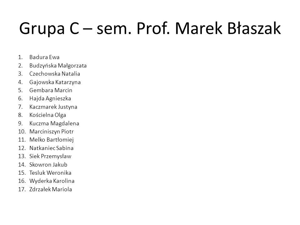 Grupa C – sem. Prof. Marek Błaszak