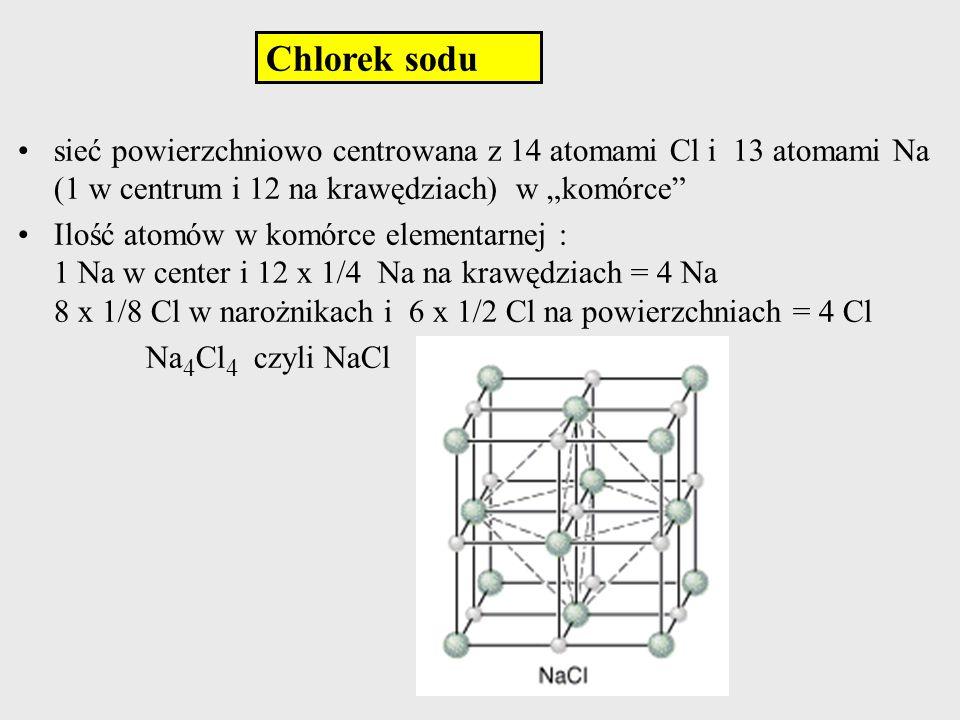 """Chlorek sodu sieć powierzchniowo centrowana z 14 atomami Cl i 13 atomami Na (1 w centrum i 12 na krawędziach) w """"komórce"""
