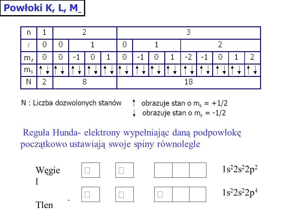 Powłoki K, L, M N : Liczba dozwolonych stanów. obrazuje stan o ms = +1/2. obrazuje stan o ms = -1/2.