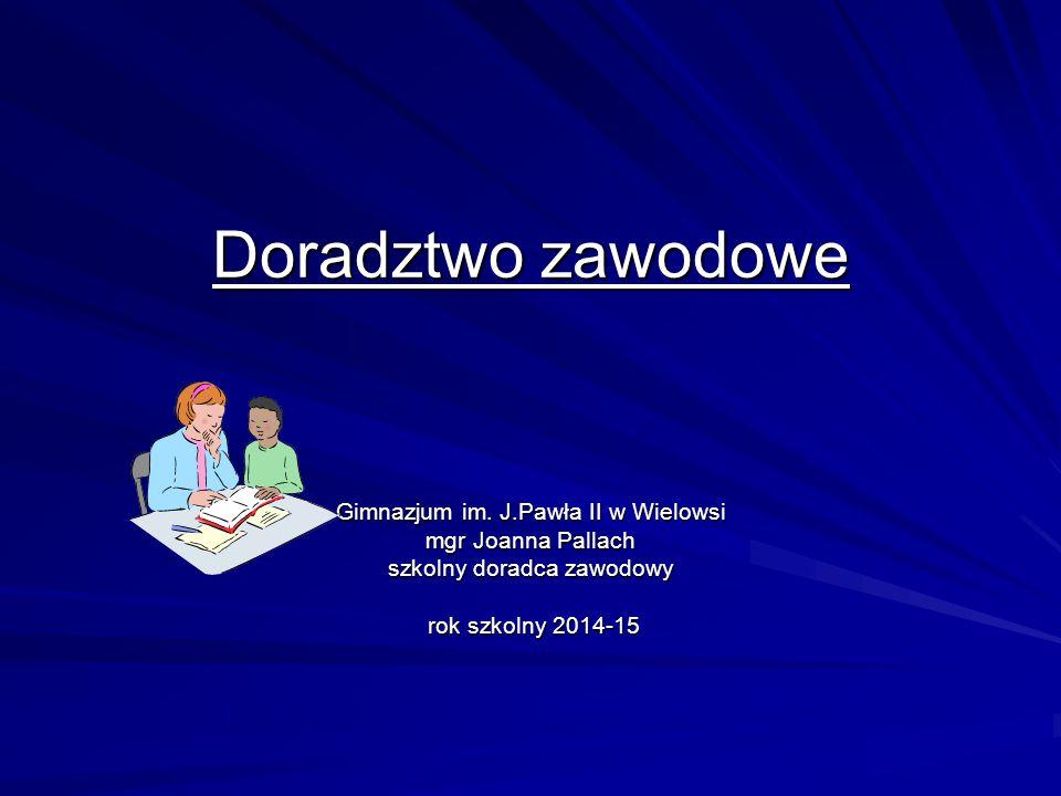 Doradztwo zawodowe Gimnazjum im. J.Pawła II w Wielowsi